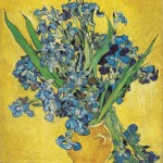 Vase With Irises Against a Yellow Background